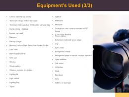 Equipments Used Management Ppt Powerpoint Presentation Styles Shapes