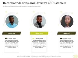 Equity Pool Deck Recommendations And Reviews Of Customers Personal Experience Ppts Slides