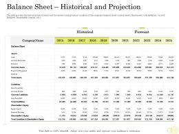 Equity Pool Funding Balance Sheet Historical And Projection Currents Assets Ppt Good