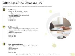 Equity Pool Funding Pitch Deck Offerings Of The Company Gold Membership Ppt Visual Aids