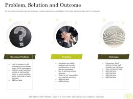Equity Pool Funding Pitch Deck Problem Solution And Outcome Favorite Restaurant Ppt Ideas