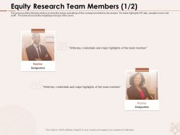 Equity Research Team Members Weightage Ppt Powerpoint Presentation Show Examples