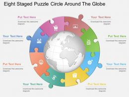 er Eight Staged Puzzle Circle Around The Globe Powerpoint Template