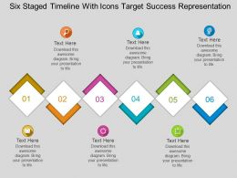 Er Six Staged Timeline With Icons Target Success Representation Flat Powerpoint Design