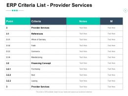 ERP Criteria List Provider Services Notes Ppt Powerpoint Presentation Ideas Gallery