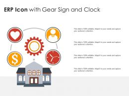 ERP Icon With Gear Sign And Clock