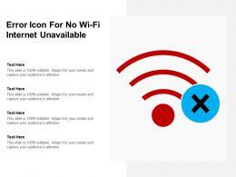 Error Icon For No Wi Fi Internet Unavailable