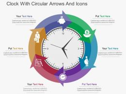 Es Clock With Circular Arrows And Icons Flat Powerpoint Design