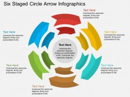 es Six Staged Circle Arrow Infographics Flat Powerpoint Design