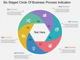 es Six Staged Circle Of Business Process Indication Flat Powerpoint Design