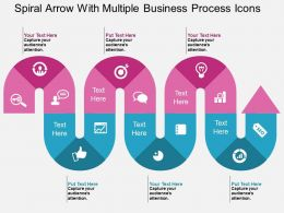 Es Spiral Arrow With Multiple Business Process Icons Flat Powerpoint Design