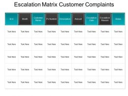 Escalation Matrix Customer Complaints Ppt Template