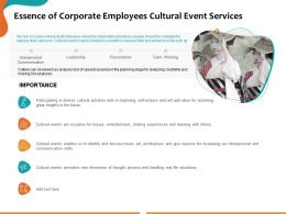 Essence Of Corporate Employees Cultural Event Services Ppt Powerpoint Presentation Graphics
