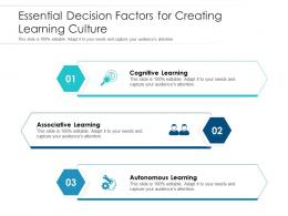 Essential Decision Factors For Creating Learning Culture