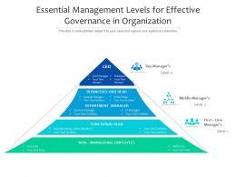 Essential Management Levels For Effective Governance In Organization