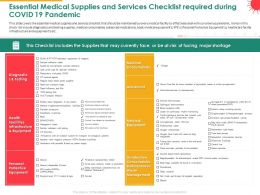 Essential Medical Supplies And Services Checklist Required During COVID 19 Pandemic Oxygen Ppt Slides