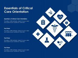 Essentials Of Critical Care Orientation Ppt Powerpoint Presentation Portfolio Files
