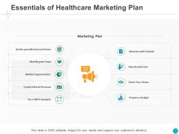 Essentials Of Healthcare Marketing Plan Team Ppt Powerpoint Presentation Pictures Images