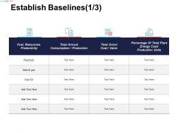 Establish Baselines Fuel Resources Productivity Ppt Powerpoint Presentation Gallery Slideshow