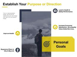 Establish Your Purpose Or Direction Improve Health Personal Goals
