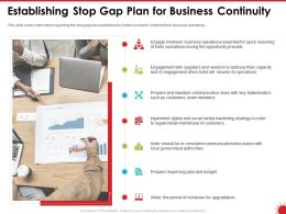Establishing Stop Gap Plan For Business Continuity Local Ppt Powerpoint Presentation Backgrounds