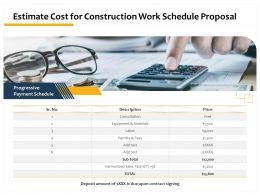 Estimate Cost For Construction Work Schedule Proposal Ppt Powerpoint Presentation Clipart