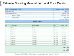 Estimate Showing Material Item And Price Details