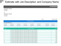 Estimate With Job Description And Company Name