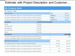 Estimate With Project Description And Customer Details