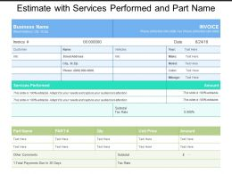 Estimate With Services Performed And Part Name