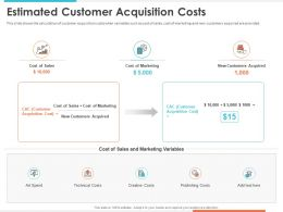 Estimated Customer Acquisition Costs Variables Ppt Powerpoint Presentation Deck