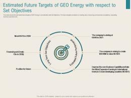 Estimated Future Targets Of Geo Energy With Respect To Set Objectives Renewable Energy Sector Ppt Tips