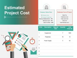 Estimated Project Cost Equipments Ppt Powerpoint Presentation Professional Graphics Tutorials