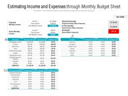 Estimating Income And Expenses Through Monthly Budget Sheet