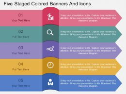 et Five Staged Colored Banners And Icons Flat Powerpoint Design