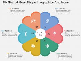 et Six Staged Gear Shape Infographics And Icons Flat Powerpoint Design