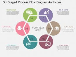 et Six Staged Process Flow Diagram And Icons Flat Powerpoint Design