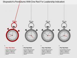 Et Stopwatchs Pendulums With One Red For Leadership Indication Flat Powerpoint Design