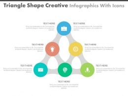 et Triangle Shape Creative Infographics With Icons Flat Powerpoint Design
