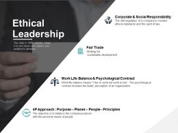 Ethical Leadership Corporate And Social Responsibility Ppt Powerpoint Presentation File Icons