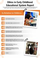 Ethics In Early Childhood Educational System Report Presentation Report Infographic PPT PDF Document