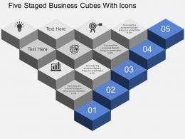eu Five Staged Business Cubes With Icons Powerpoint Template