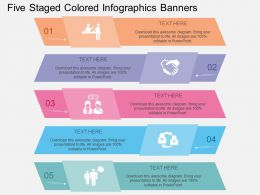 eu Five Staged Colored Infographics Banners Flat Powerpoint Design