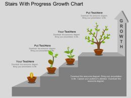 eu Stairs With Progress Growth Chart Flat Powerpoint Design