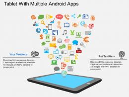 Eu Tablet With Multiple Android Apps Flat Powerpoint Design