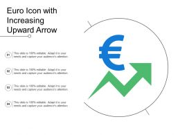 Euro Icon With Increasing Upward Arrow