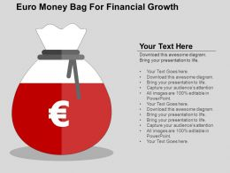 Euro Money Bag For Financial Growth Flat Powerpoint Design