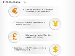 Euro Pound Yen Dollar Currencies Ppt Icons Graphics