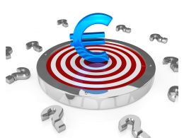 Euro Sign On Target Dart Bulls Eye Concept With Question Mark Stock Photo