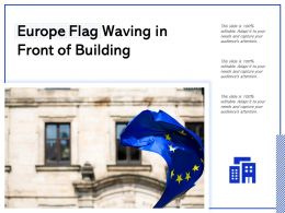 Europe Flag Waving In Front Of Building